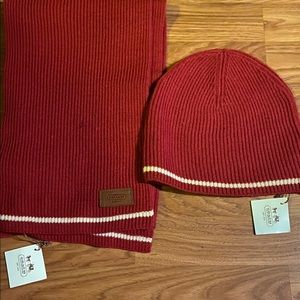 Coach unisex beanie and scarf set